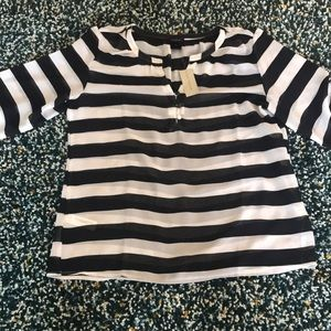 Ann Taylor sheer black and white stripe 3/4 sleeve